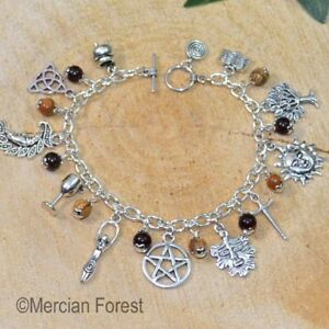 Details About Wiccan Charm Bracelet With Picture Jasper Pagan Jewellery Wicca Witch