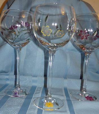 Set of 3 Lenox Floral Spirit Balloon Wine Glasses - Yellow, Purple and Pink