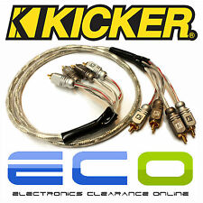 Kicker Car Audio Proffesional 1 Metre RCA Phono Cables Leads 2 Pairs of RCA