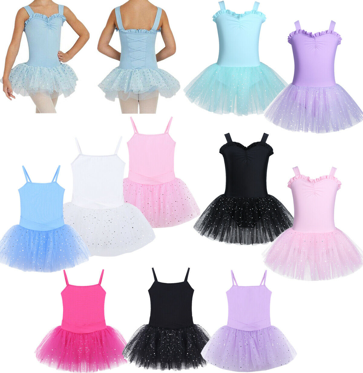 Kids Girls Camisole Ballet Dance Tutu Dress Gymnastics Leotard Skirt Dancewear