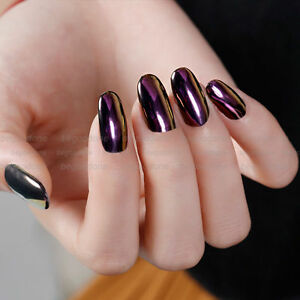 Image Is Loading Purple Color Effect Mirror Chrome Nail Powder Pigment