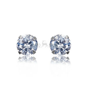 New-925-Sterling-Silver-White-Round-Cubic-Zircon-AAA-CZ-Stone-Stud-Earrings