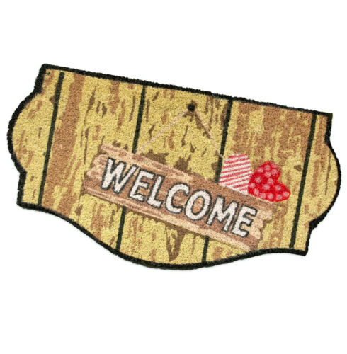 Doormat Coir Welcome Hearts 40x75 Modern Carpet Entry Exterior Back Rubber