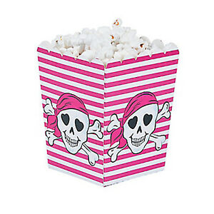 PINK-PIRATE-PARTY-Mini-Popcorn-Favour-Boxes-Gift-Box-Pack-of-6-Free-Postage