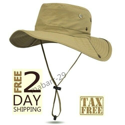 Sun Protection Mesh Boonie Hat Fishing Waterproof Safari Bucket Cap Wide  Brim 0c547ee4282e