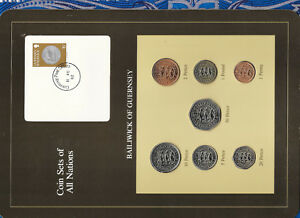 Coin-Sets-of-All-Nations-Guernsey-Brown-w-card-1979-1982-UNC-1-1981-Lily-11AU82