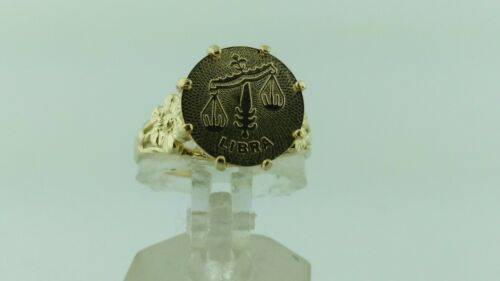 14K Solide Or Jaune Zodiac Libra bague or 14K LIBRA ZODIAC SIGNE Ring