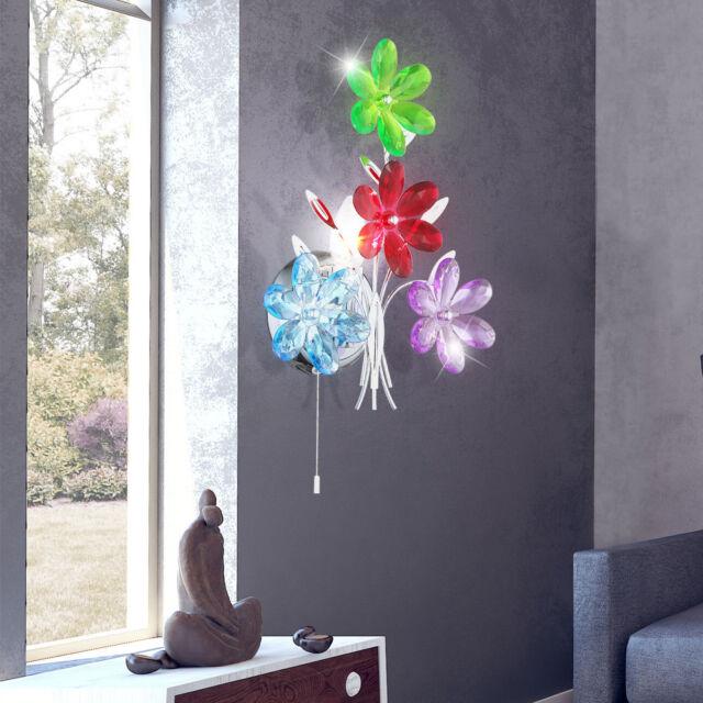 Fleurs applique murale nuit chambre lampe lumière interrupteur à tirette chrome