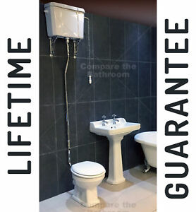Traditional-Victorian-High-Level-Toilet-Basin-Set-Bathroom-Suite-WC-Sink