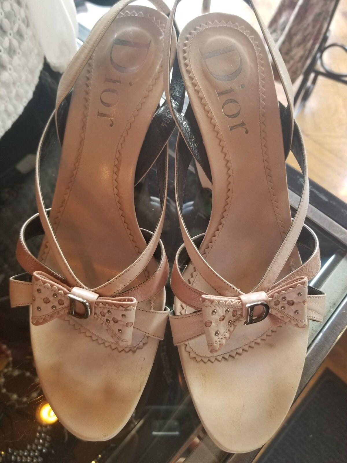 Dior bluesh Pink wedge Sandals sz 10.5 41