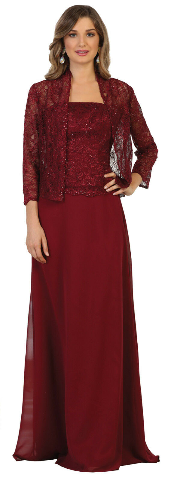 NEW MOTHER of THE BRIDE GROOM PLUS SIZE LONG GOWN DRESSES FORMAL EVENING CHURCH