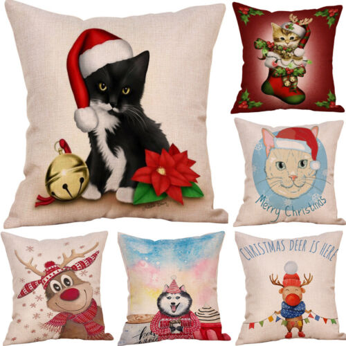 "18/"" Joyeux Noël Motif Coton Lin Canapé Voiture Throw Cushion Cover Home Decor"