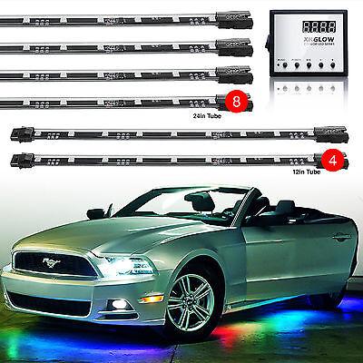 12pc LED Undercar Interior 3million Color Remote Underbody Glow Lighting Kit