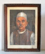 Antique Artist Fine Old Oil Canvas Painting Portrait Indian Old Man Painting