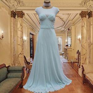 Karen-Millen-12UK-Aqua-Green-Pintuck-Pleated-Wedding-Ballgown-Long-Maxi-Dress