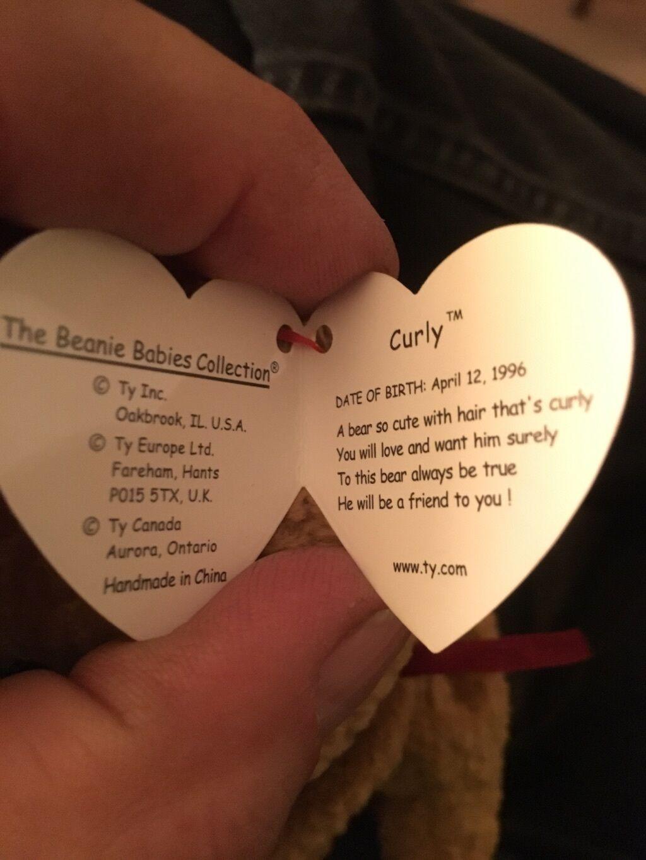 Ty Beanie baby Curly Bear met enkele fouten