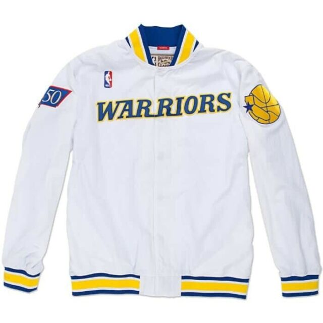 Mens Mitchell /& Ness NBA 1996-97 Authentic Home Warm Up Jacket GS Warriors