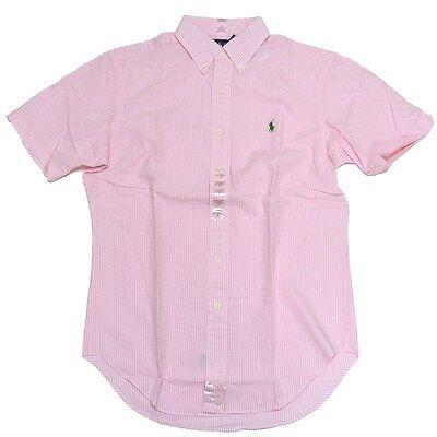 Polo Ralph Lauren Seersucker Shirt Classic Button Down Short Sleeve Mens V081