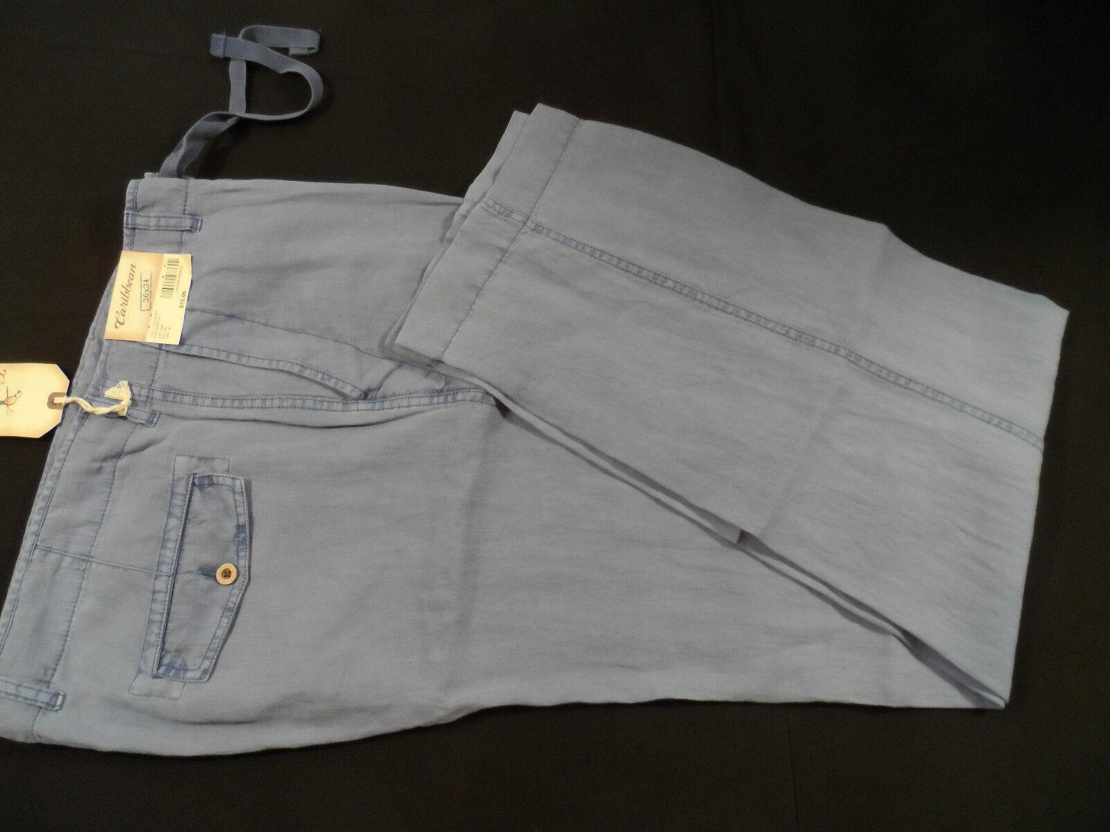 Caribbean Men's 100% Linen Pants, color-bluee, Various Sizes, NWT