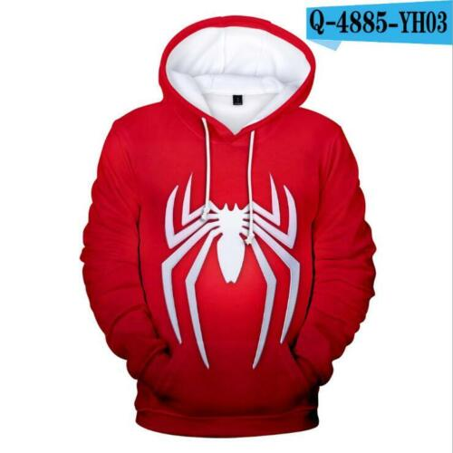 3D Cosplay Marvel Spider-Man Sweater Hoodie Fashion Costume zip Jacket Coat US