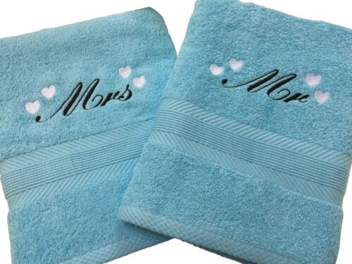 Birthday choice of colours 2 Personalised Towels Wedding hand or bath size