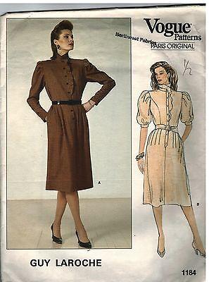 1184 Vintage Vogue Sewing Pattern Misses Dress Semi Fitted Bodice Guy Laroche 12 Noch Te Hard Noch Te Zacht