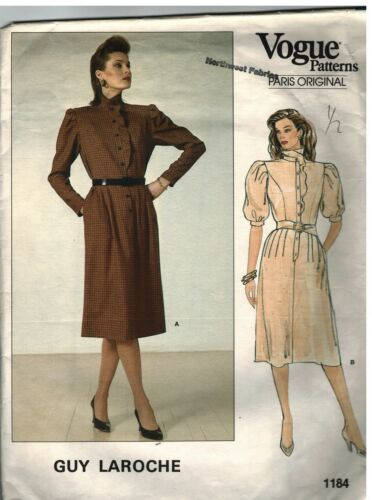 1184 Vintage Vogue Sewing Pattern Misses Dress Semi Fitted Bodice Guy Laroche