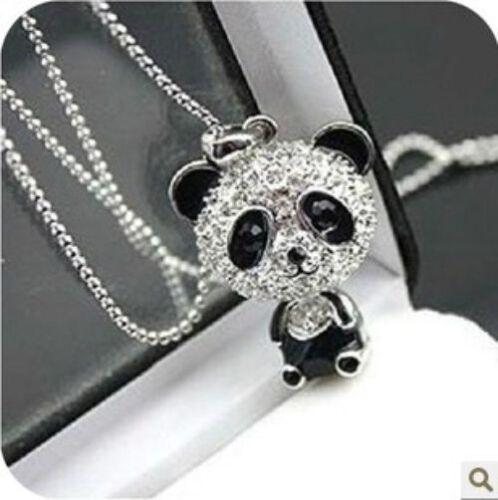 osito dulce osito collar negro pedrería cadena color plata oros Panda