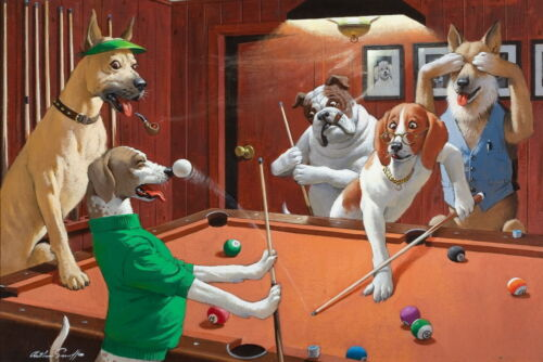 Home Decor Art wall Dogs Playing Pool Oil painting Picture Printed on canvas II
