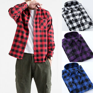 Mens-Brushed-Cotton-Flannel-Check-Shirt-Long-Sleeve-Plaid-Tops-Casual-Lumberjack