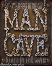 Man cave what happens in stays parking shop sign girl rule garage metal tin 1701