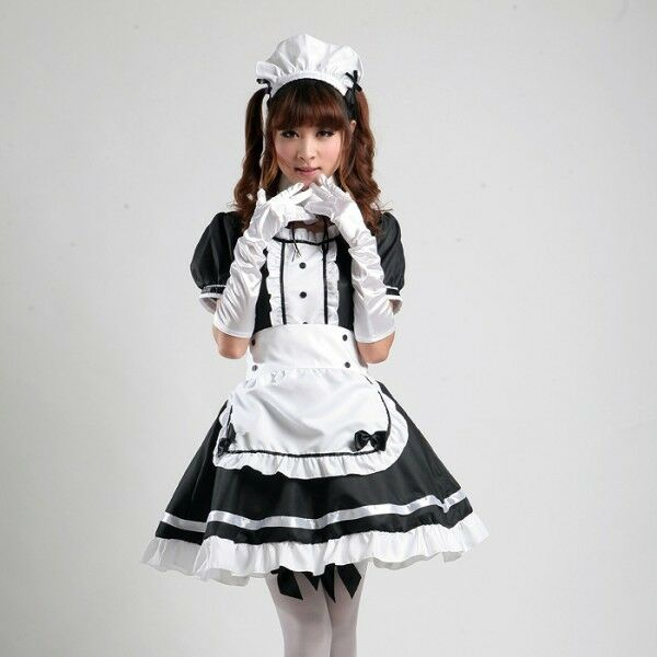 Black Japanese Anime Maid Cosplay Costume Women Halloween Party Fancy Dress