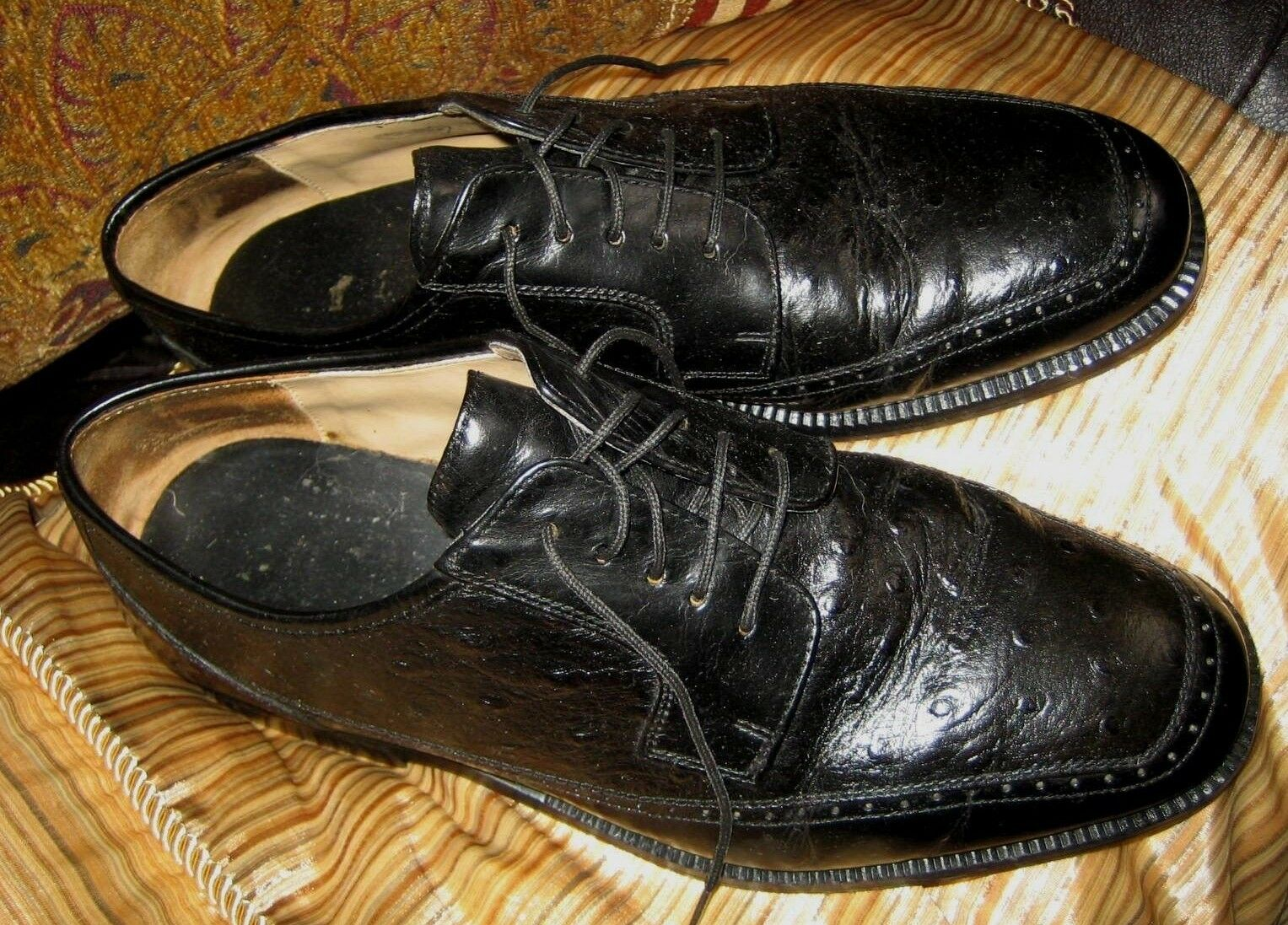 OSTRICH LEATHER OXFORDS schuhe IN IN IN schwarz HANDMADE IN ITALY 9.5 W GREAT QUALITY b06f41