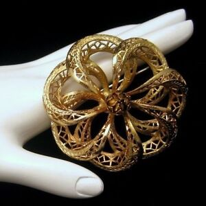 Coro-COROCRAFT-Vintage-Cannetille-Flower-Large-Brooch-Pin-Nice-Detail