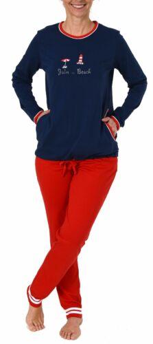 191 201 90 947 Maritimer Damen Pyjama langarm Schlafanzug von Normann