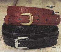 Men's Western Ranger Belt Tooled Leather - Basket Weave