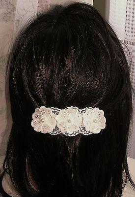 Energico 1 Xpince Barrette Accessoire à Cheveux 3 Fleurs Blanc★fait Main Mariage Fête