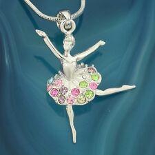 W Swarovski Crystal Ballet Dancer Multi Color Ballerina GIrls Pendant Necklace