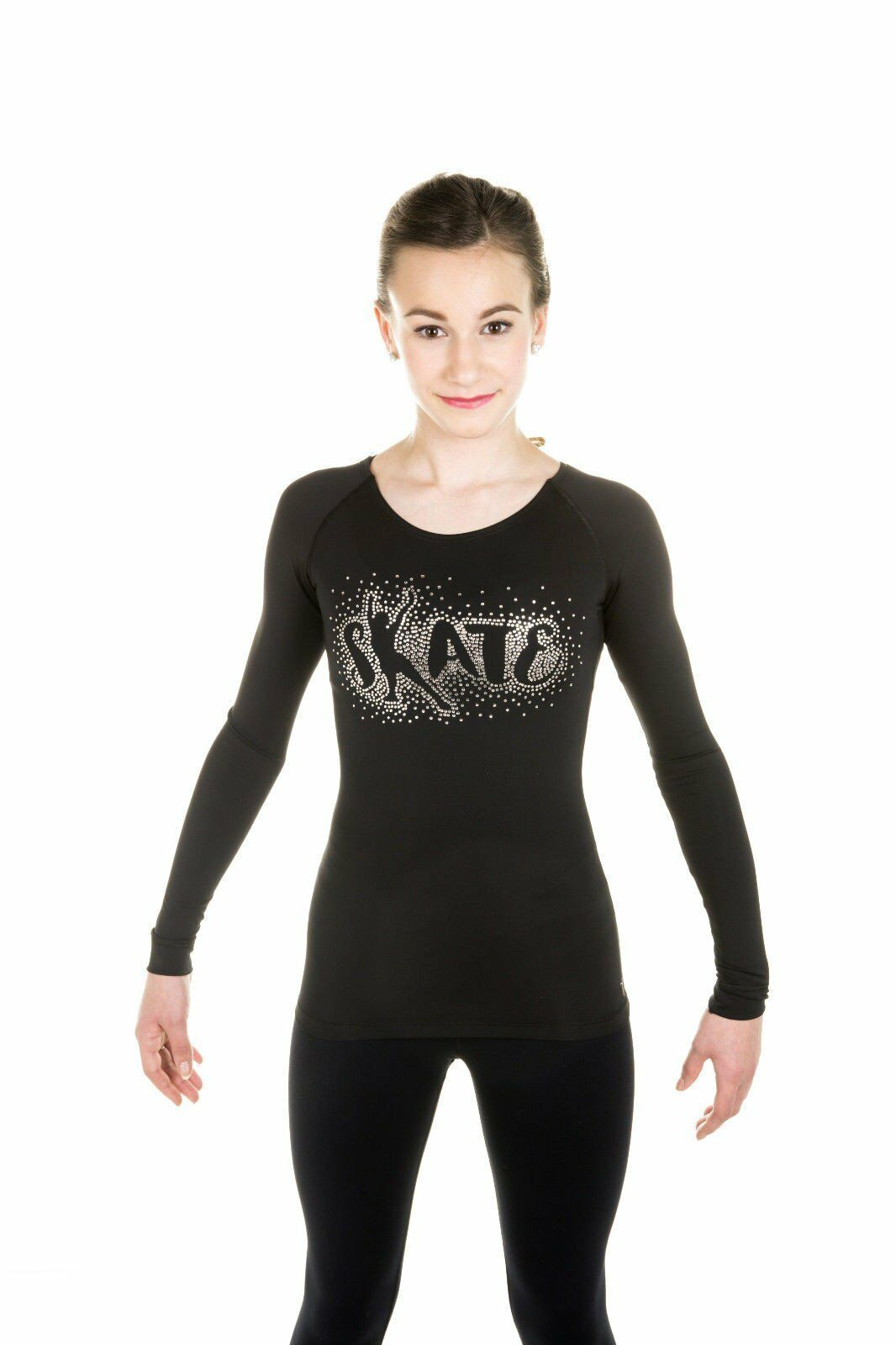 New Figure Skating Top Shirt with RHinestones Design  in Size Youth 8-10  shop clearance
