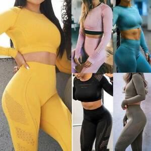 2Pcs Womens Tracksuit Zip Hooded Crop Top Pants Set Slim Fit Yoga Gym Sport Suit
