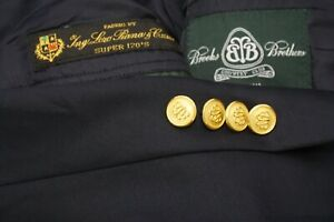 Brooks Brothers Country Club Navy Blue Brass Button Loro Piana Wool Blazer 45L