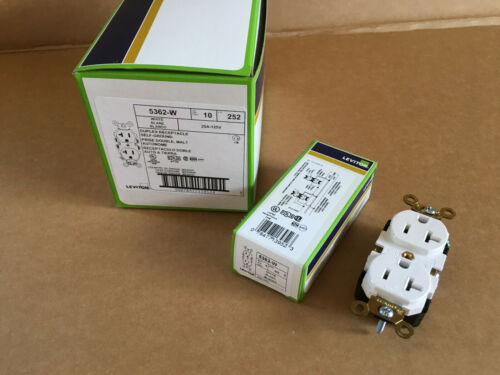 Self-Ground Leviton 5362-W Duplex Receptacle 20A-125V Lot of 10 White