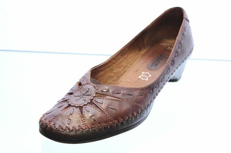 Jana Pumps braun Leder Schuhweite H Vario Gr. 36,5 (UK 3,5)