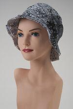 Reversible Black White Paisley BUCKET HAT Cap CHEMO HEADCOVER Cancer Gray Grey