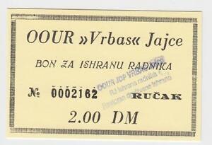 2-DM-Germany-Mark-OOUR-VRBAS-JAJCE-Bosnia-ex-Yugoslavia-Local-note-bons-coupon