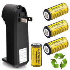 4x Garberiel 1800mah 16340 Li-ion Durable Rechargeable Battery Smart Charger