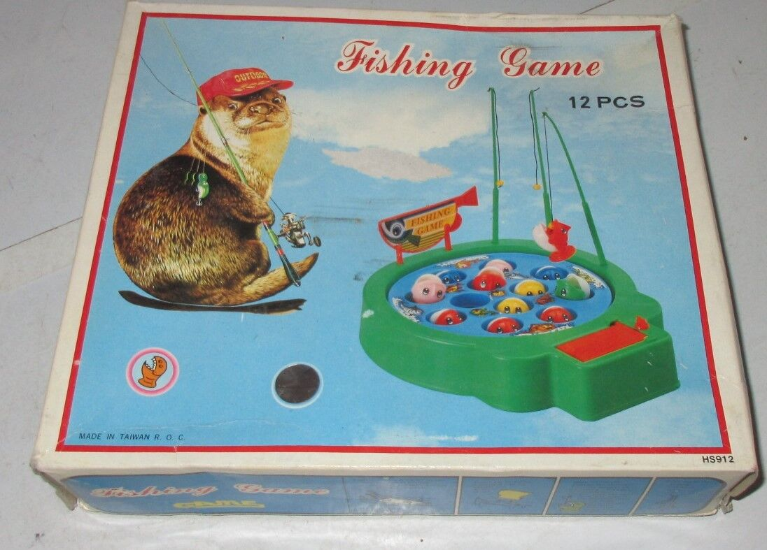 VERY RARE VINTAGE 80'S Game FISHING GAME BATTERY OPPERATED ROD FISH LAKE NICE