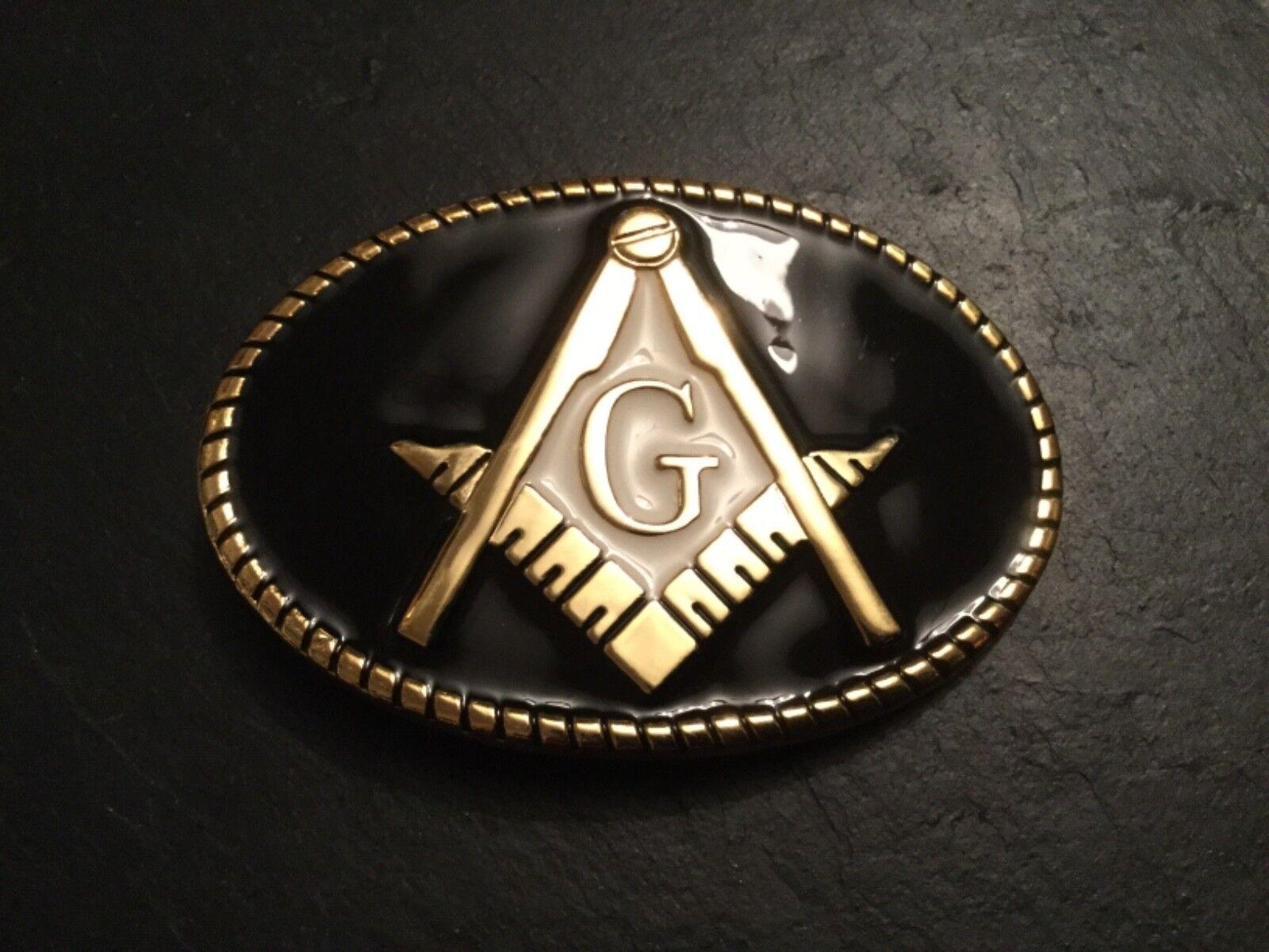 New MASONIC Square & Compass Logo BELT BUCKLE Black & Gold Metal Freemason Mason