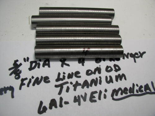 """5//8/"""" TITANIUM ROUND ROD BAR  1 pc.5//8/""""  X 4 /""""+MEDICAL  GRADE 23 6AL-4VELI"""