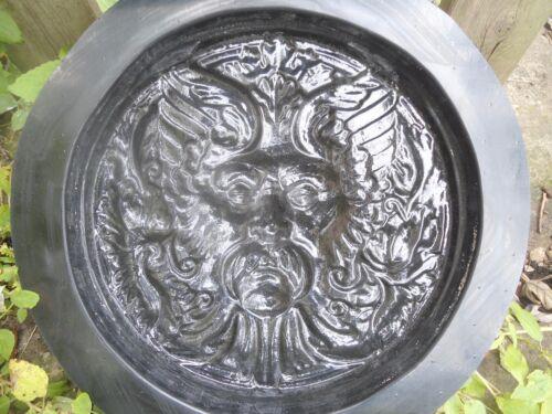 "Green man Bacchus face mold plaster concrete casting mould 11/"" x 1.25/"" thick"